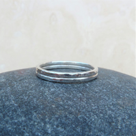Sterling Silver One of a Kind Double Hammered Ring Band Size R - RNG029
