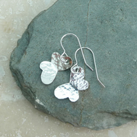 Sterling Silver Hammered Butterfly Drop Earrings - SILV048