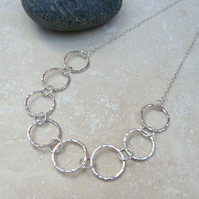 Sterling Silver Hammered Ring Necklace - NEK023