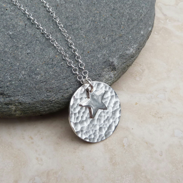 Sterling Silver 20 mm Disc and Star Hammered Pendant Necklace - PEN038
