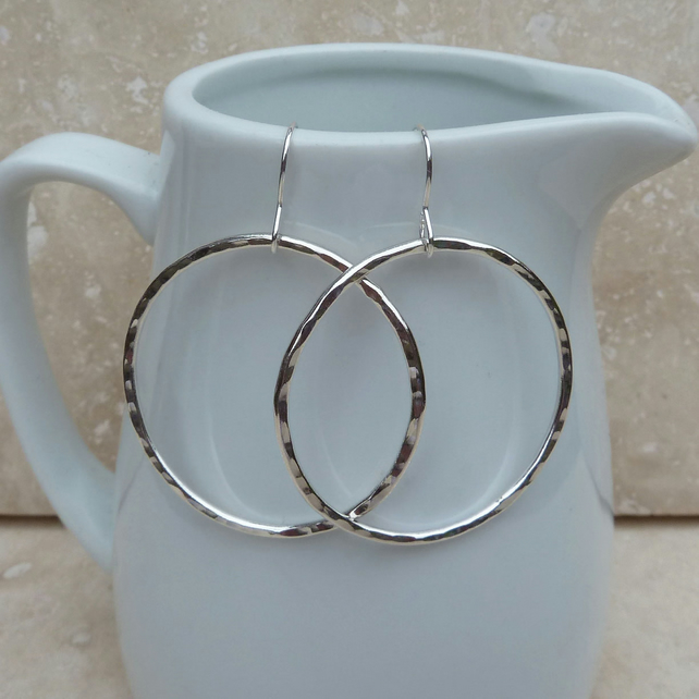 Large Sterling Silver Hammered Hoop Earrings - SILV050
