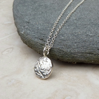 Sterling Silver Hammered Textured Pebble Necklace Pendant - PEN040