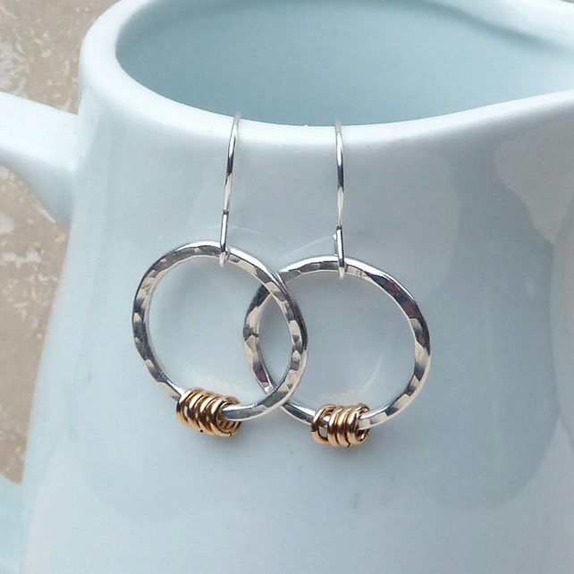 Sterling Silver and 9ct Gold Filled Hammered Hoop Earrings - SILV052
