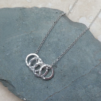 Sterling Silver Four Hammered Ring Necklace - NEK031