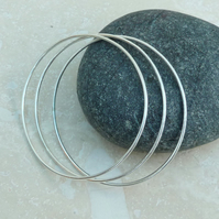Sterling Silver Oval Stacking Bangle Set - Stack of Three - BAN018