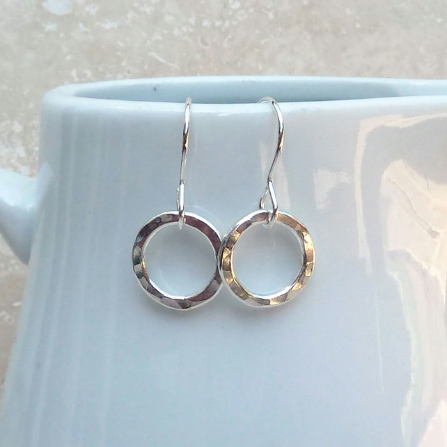 Small Sterling Silver Hammered Hoop Earrings - SILV054