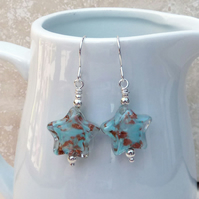 Blue and Bronze Star Shaped Murano Glass and Sterling Silver Earrings - GEM070