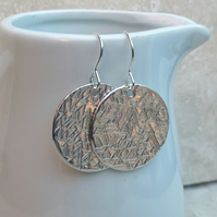 Large Sterling Silver Hammered Textured Disc Earrings - SILV058