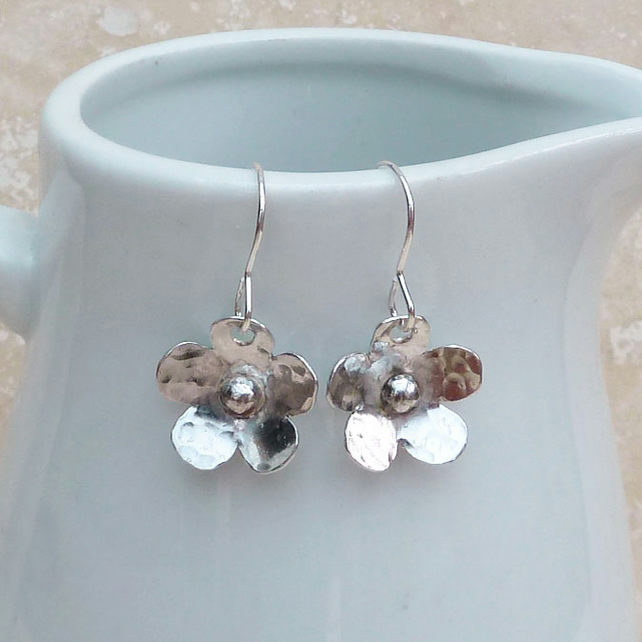 Sterling Silver Hammered Flower Drop Earrings - SILV059