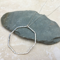 Long Sterling Silver Octagon Hoop Shape Statement Necklace - NEK033