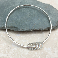 Sterling Silver 4 Ring Hammered Bangle - BAN025