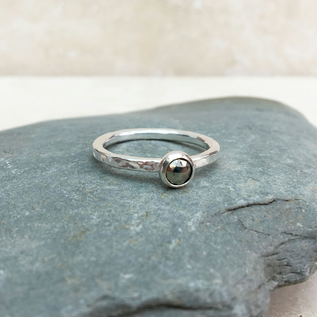 Silver and Grey Pyrite Rose Cut Gemstone Ring - UK Size N - RNG041