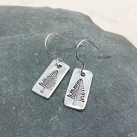 Sterling Silver Evergreen Tree Stamped Earrings - SILV070