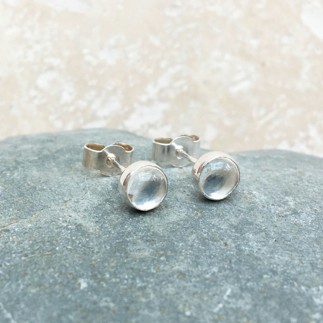Crystal Quartz and Sterling Silver Stud Earrings - STUD108