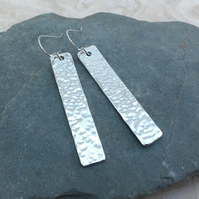 Sterling Silver Long Hammered Rectangle Earrings - SILV066