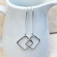 Sterling Silver Square Earrings, Long Earrings, Hammered Earrings - SILV073