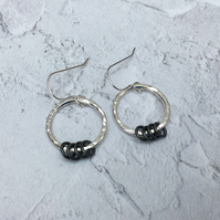 Sterling Silver and Oxidised Silver Hammered Hoop Circle Earrings - SILV074