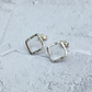 Sterling Silver Diamond Square Small Stud Earrings - STUD116