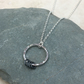 Sterling Silver Hammered Ring Necklace with Oxidised Silver Detail - PEN045