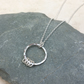 Sterling Silver Hammered Ring Necklace with Silver Detail - PEN044
