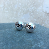 Sterling Silver Heart Stud Earrings - STUD110