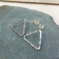Triangle Studs, Triangle Earrings, Silver Studs, Sterling Silver Studs - STUD115