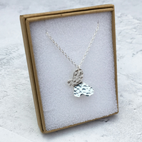 Sterling Silver Hammered Butterfly Pendant Necklace - PEN036