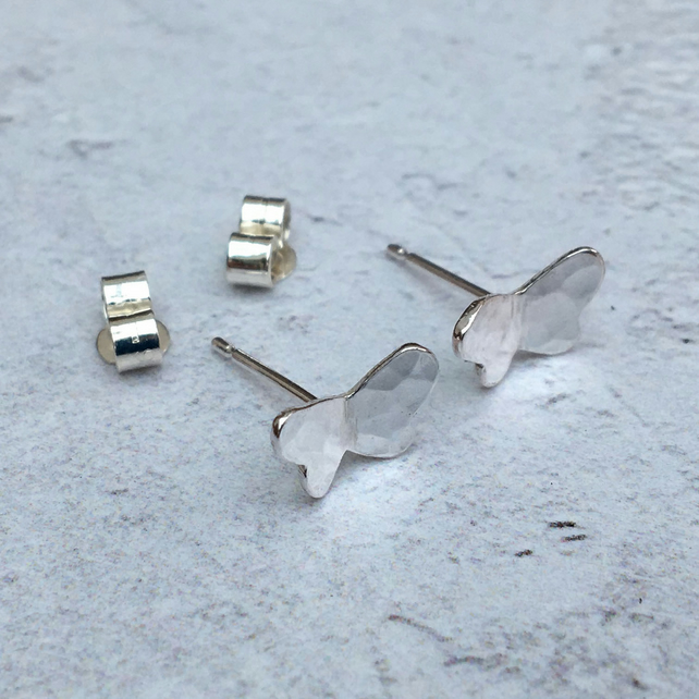Sterling Silver Butterfly Studs, Silver Butterfly Earrings - STUD106