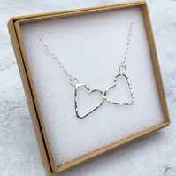 Sterling Silver Hammered Double Heart Necklace - NEK005