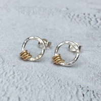 Sterling Silver and 9ct Gold Filled Hammered Circle Stud Earrings - STUD120