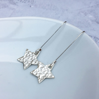 Sterling Silver Long Hammered Star Earrings - SILV077