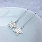 Silver Star Earrings, Sterling Silver Star Earrings, Long Earrings - SILV077