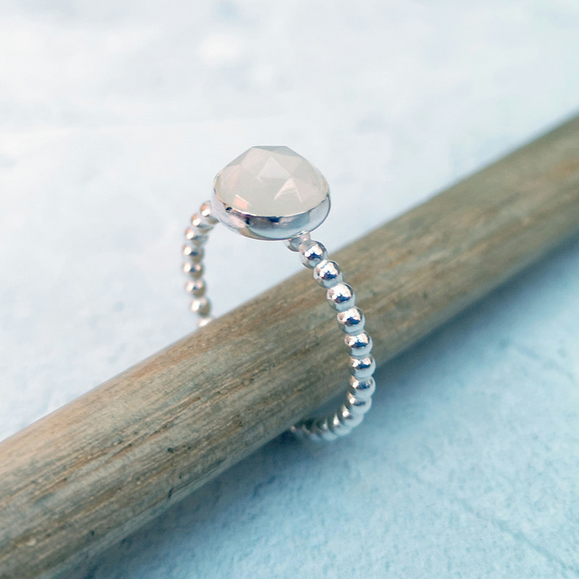 Moonstone Ring, Rainbow Moonstone Ring, Stacking Ring - RNG047