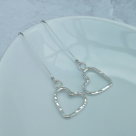 Sterling Silver Heart Earrings, Long Earrings, Hammered Earrings - SILV013