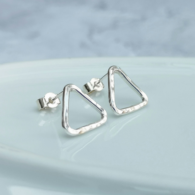 Sterling Silver Large Geometric Triangle Stud Earrings - STUD125
