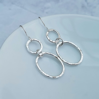 Sterling Silver Oval and Circle Earrings - SILV087