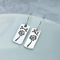 Silver Dandelion Wishes Hand Stamped Drop Earrings - SILV085