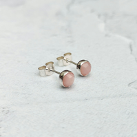 Pink Opal Studs, Pink Opal Earrings, Opal Jewellery, Small Studs - STUD129