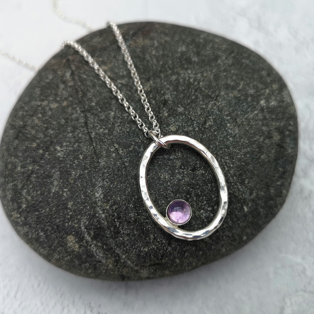 Silver Amethyst Necklace, February Birthstone, Hammered Necklace - NEK042