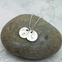 Initial Necklace, Two Letter Necklace, Personalised Silver Necklace - PER001