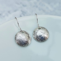 Silver Earrings, Disc Earrings, Round Earrings, Textured Earrings - SILV086