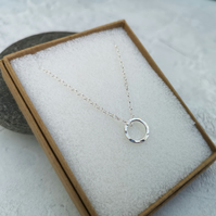 Circle Necklace, Silver Circle Necklace, Hammered Necklace - NEK054