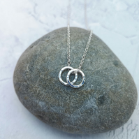 Two Circle Necklace, Silver Circle Necklace, Hammered Necklace - NEK055