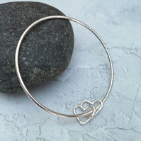 Sterling Silver Double Heart Charm Bangle, Silver Bangle - BAN036