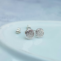 Sterling Silver Round Stud Earrings, Textured Studs - STUD140