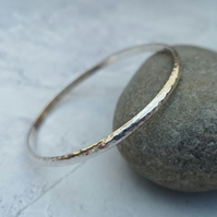 Sterling Silver Chunky Hammered Oval Bangle - BAN033