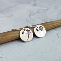 Silver Dandelion Wishes Hand Stamped Drop Earrings - SILV041