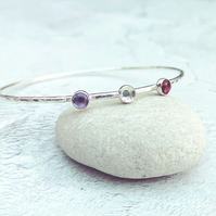 Sterling Silver Gemstone Bangle, Amethyst, Quartz, Rhodolite - BAN038