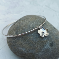 Sterling Silver Flower Charm Bangle - BAN032