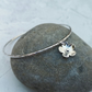 Sterling Silver Flower Bangle, Silver Flower Charm Bracelet - BAN032